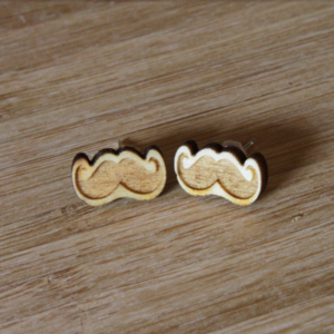 Laser Engraved Wood Muzzy Earrings