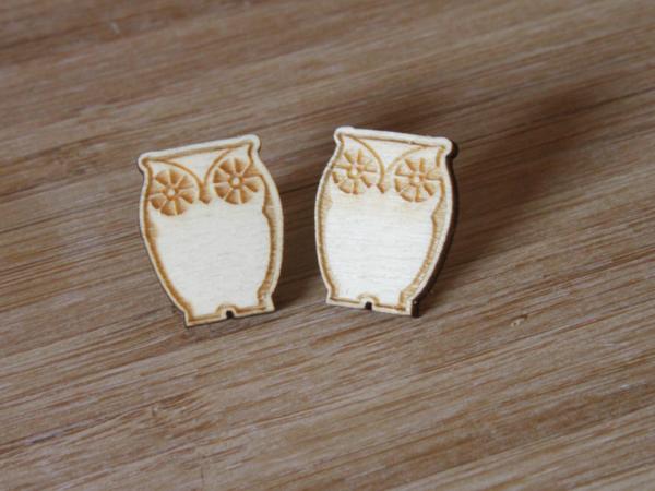 Laser Engraved Wood Owl Earrings