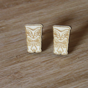 Laser Engraved Wood Totem Earrings