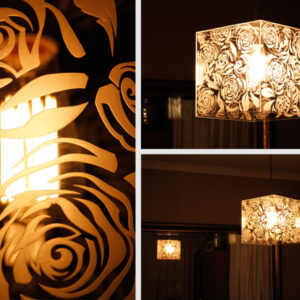 Engraved Perspex Rose Light Shade