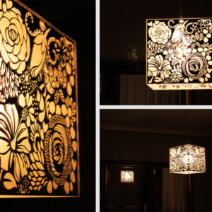 Engraved Floral Perspex Mirror Light Shade