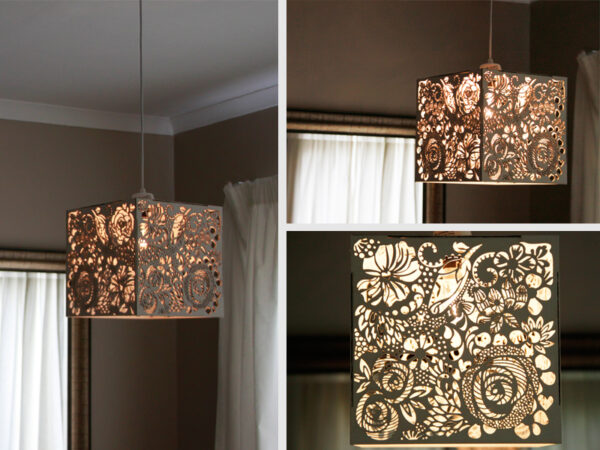 Laser Cut Painted Floral Light Shade