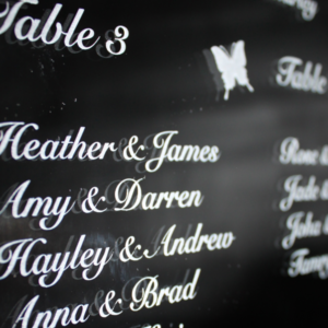Laser Engraved Wedding Seating Plan Mirror