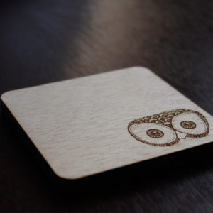 Wooden Laser Engraved Owl Coaster Set