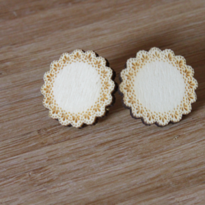 Laser Engraved Wood Doily Earrings