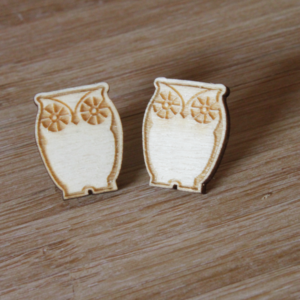 Laser Engraved Wood Owl Earrings