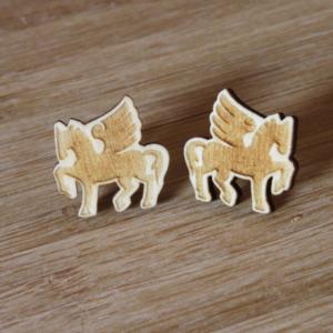 Laser Engraved Wood Pegasus Earrings
