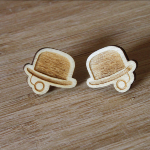 Laser Engraved Wood Gentlemen Earrings