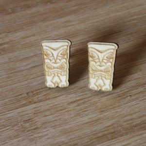 Laser Engraved Wood Totem Earrings