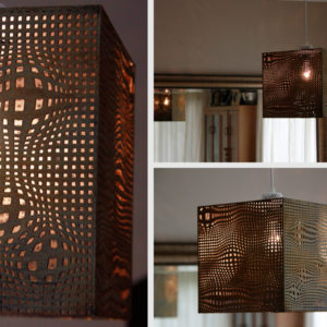 Laser Cut Rusted Mesh Light Shade