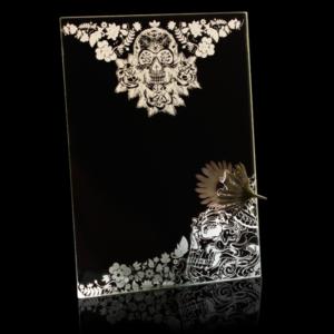 Laser Engraved Skull Mirror