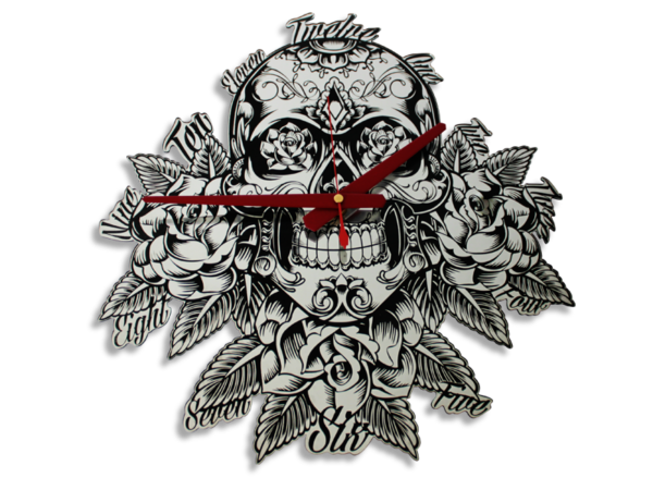 Laser Cut Skull Perspex Mirror Wall Clock