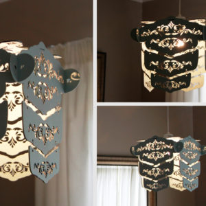 Laser Cut Painted Wood Vintage V2 Light Shade