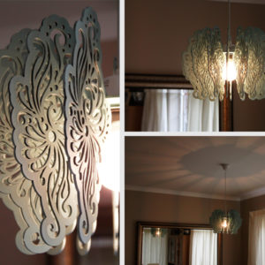 Laser Cut Painted Wood Vintage Light Shade