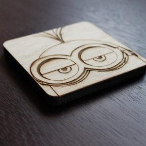 Laser Engraved Minion Wooden Coaster Set